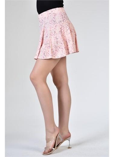Rodi Jeans Kadın Katlı Kısa Çiçekli Etek DS21YB071871 Pembe